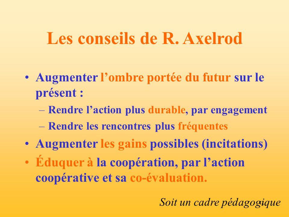 Les conseils de R. Axelrod