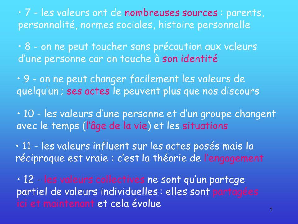 • 7 - les valeurs ont de nombreuses sources : parents, personnalité, normes sociales, histoire personnelle