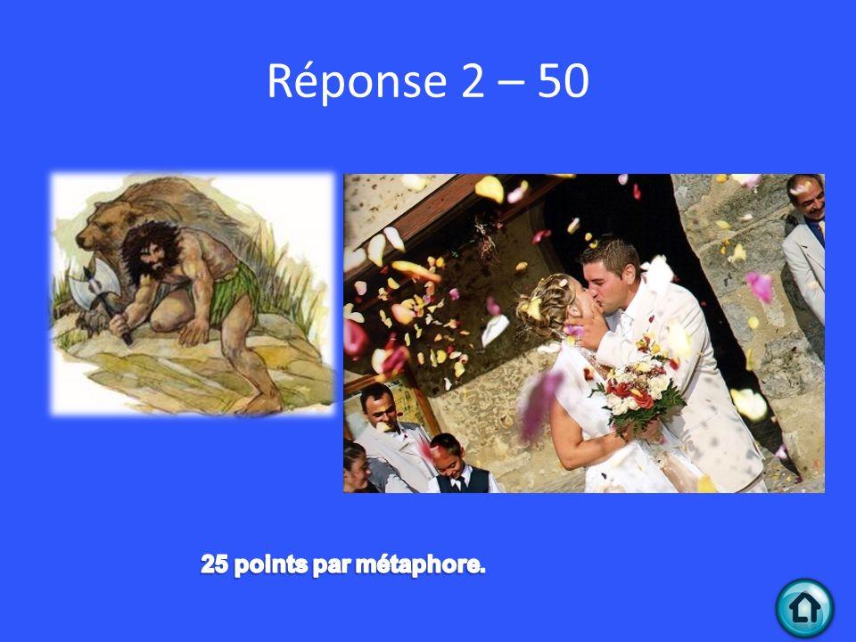 Réponse 2 – 50 25 points par métaphore.