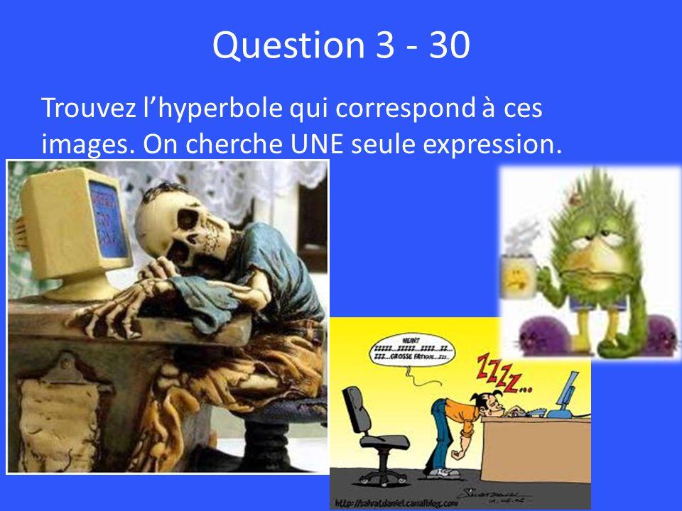 Question 3 - 30 Trouvez l'hyperbole qui correspond à ces images. On cherche UNE seule expression.