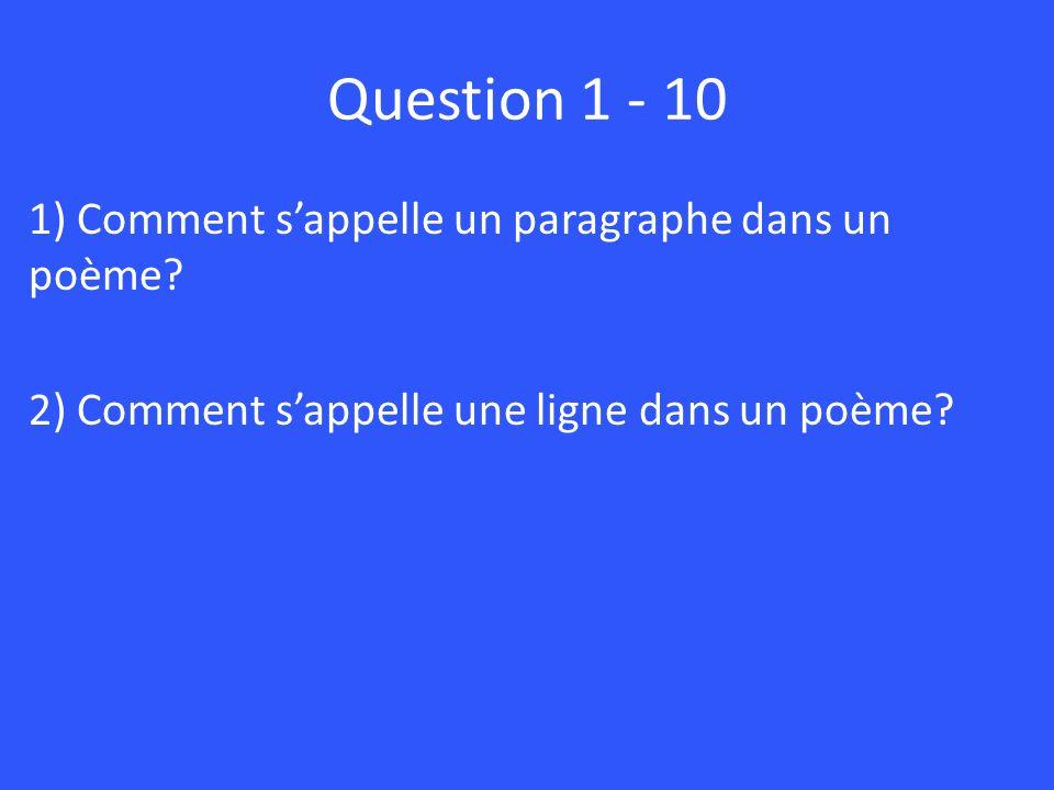 Question 1 - 10 1) Comment s'appelle un paragraphe dans un poème