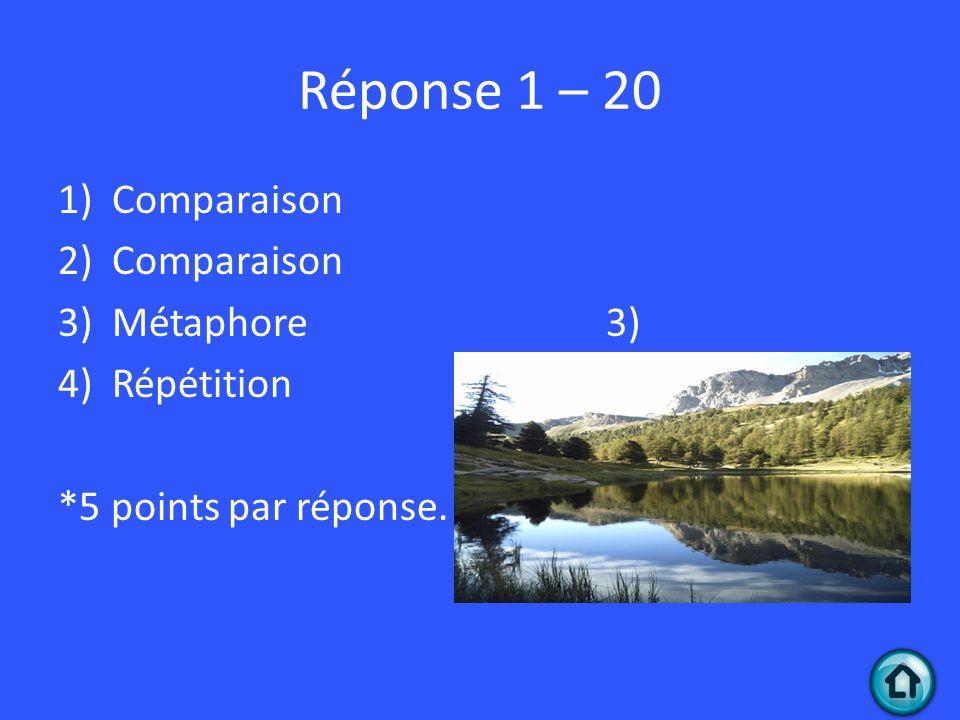 Réponse 1 – 20 Comparaison Métaphore 3) Répétition