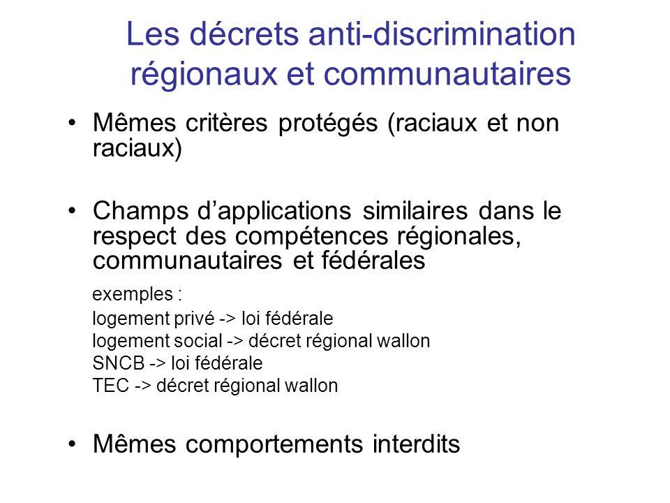 Les décrets anti-discrimination régionaux et communautaires