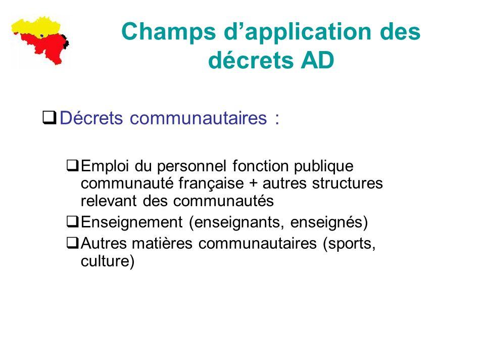 Champs d'application des décrets AD