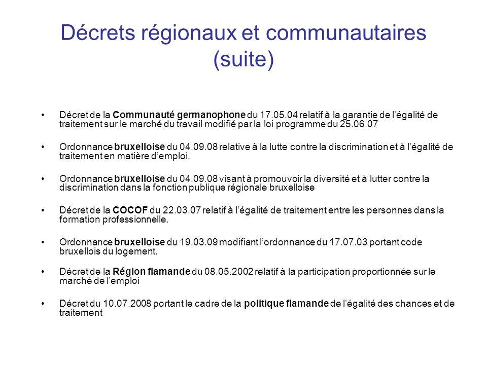 Décrets régionaux et communautaires (suite)