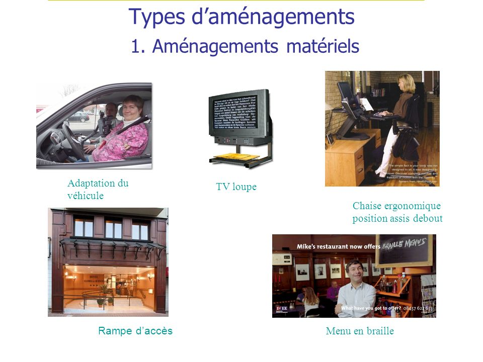 Types d'aménagements 1. Aménagements matériels