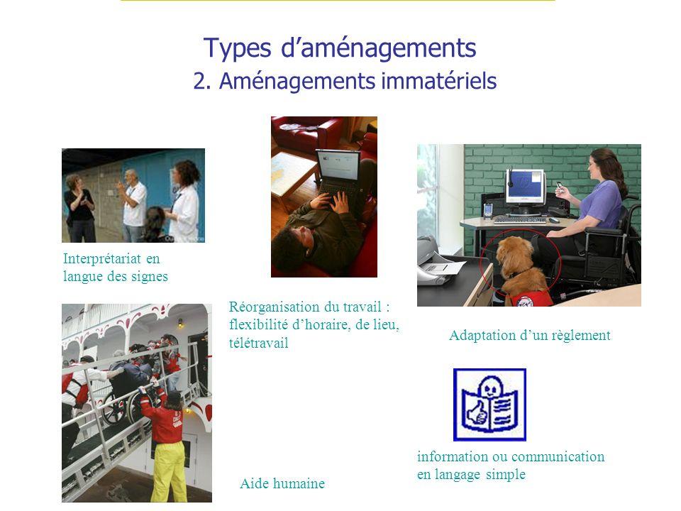 Types d'aménagements 2. Aménagements immatériels