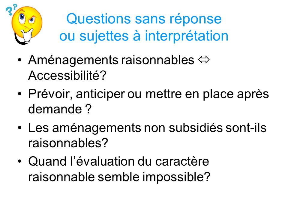 Questions sans réponse ou sujettes à interprétation