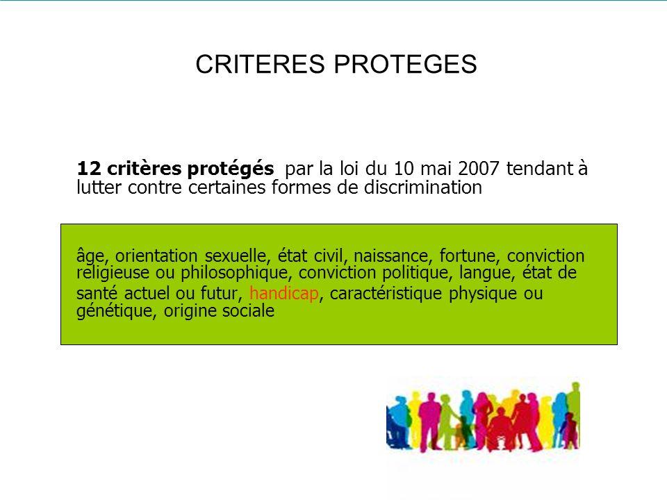 CRITERES PROTEGES 12 critères protégés par la loi du 10 mai 2007 tendant à lutter contre certaines formes de discrimination.