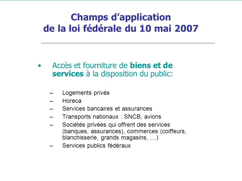 Champs d'application de la loi fédérale du 10 mai 2007