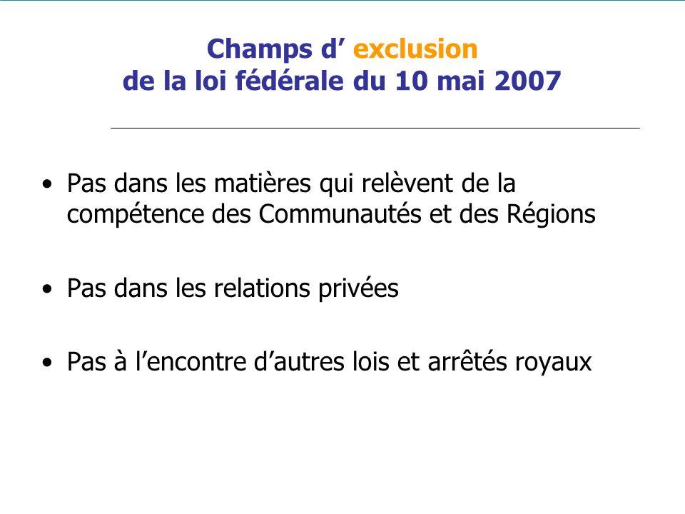 Champs d' exclusion de la loi fédérale du 10 mai 2007