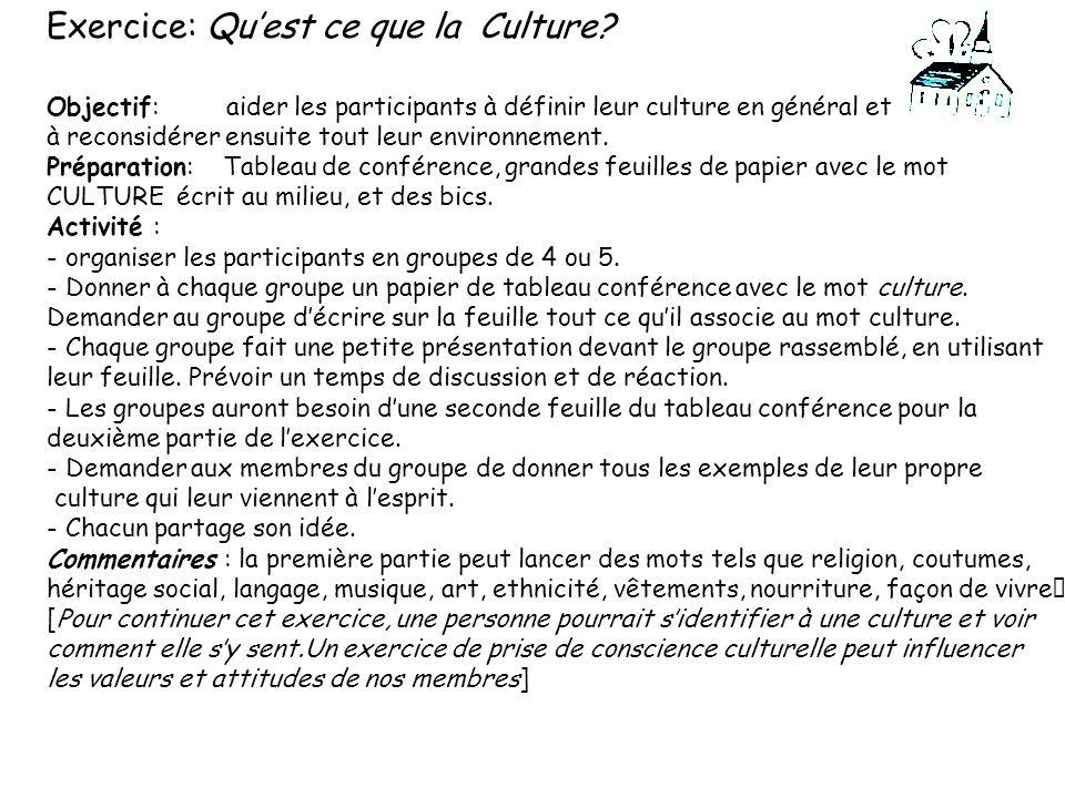 Exercice: Qu'est ce que la Culture
