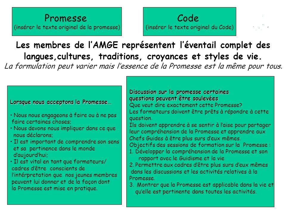 Promesse (insérer le texte originel de la promesse) Code. (insérer le texte originel du Code)