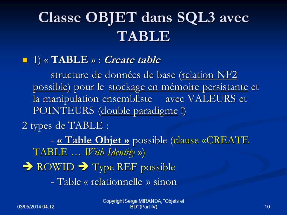 Classe OBJET dans SQL3 avec TABLE