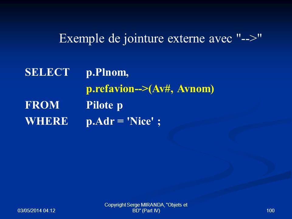 Exemple de jointure externe avec -->