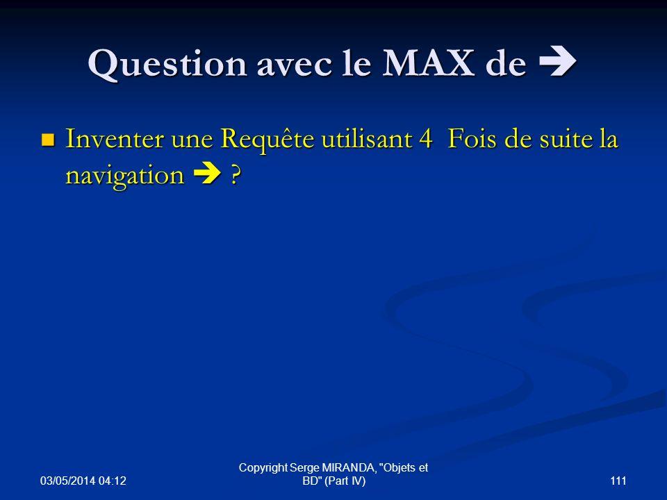 Question avec le MAX de 