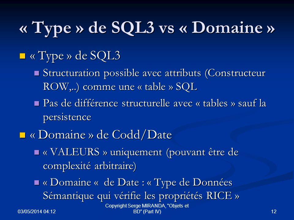 « Type » de SQL3 vs « Domaine »