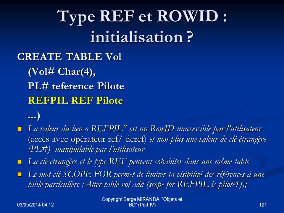 Type REF et ROWID : initialisation