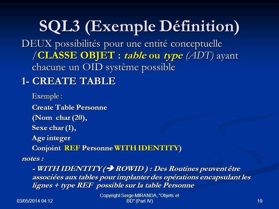 SQL3 (Exemple Définition)