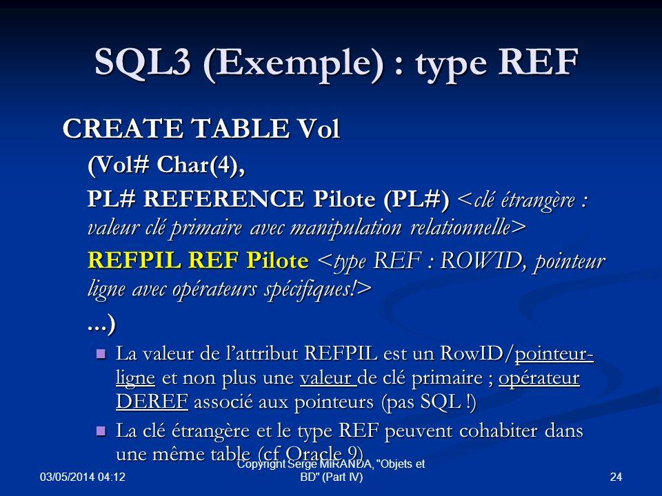 SQL3 (Exemple) : type REF