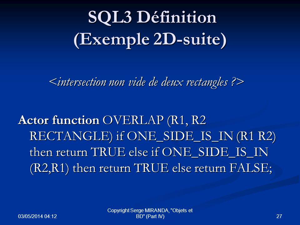 SQL3 Définition (Exemple 2D-suite)