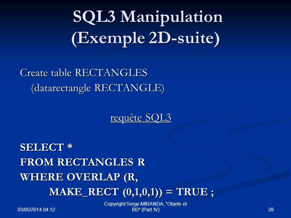 SQL3 Manipulation (Exemple 2D-suite)