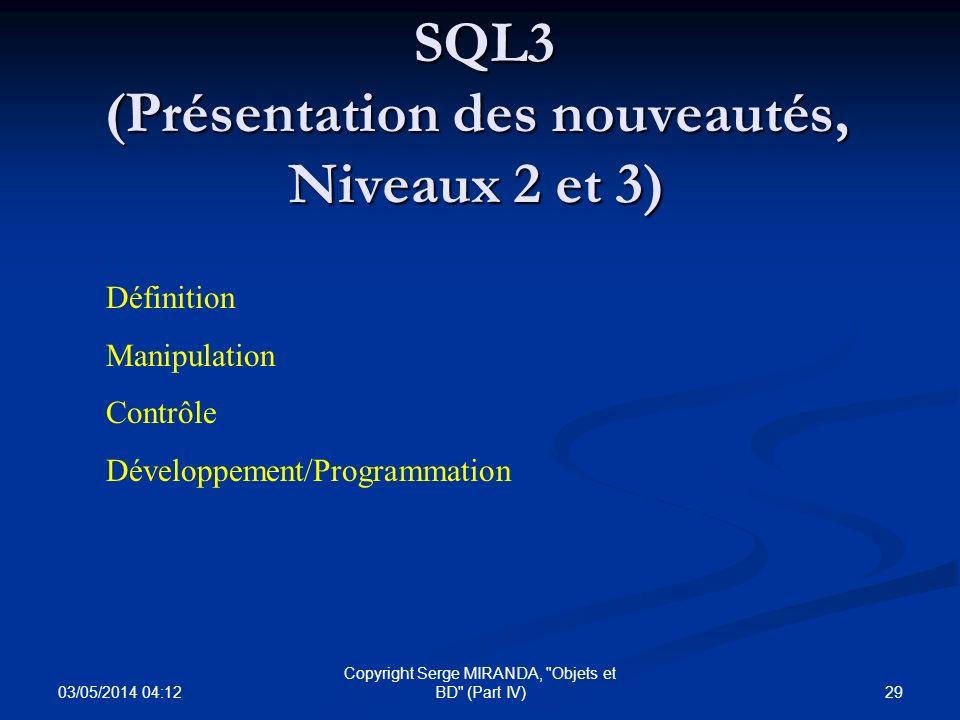 SQL3 (Présentation des nouveautés, Niveaux 2 et 3)