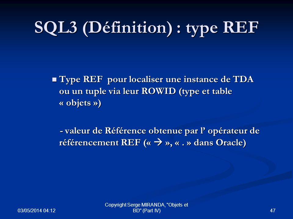 SQL3 (Définition) : type REF