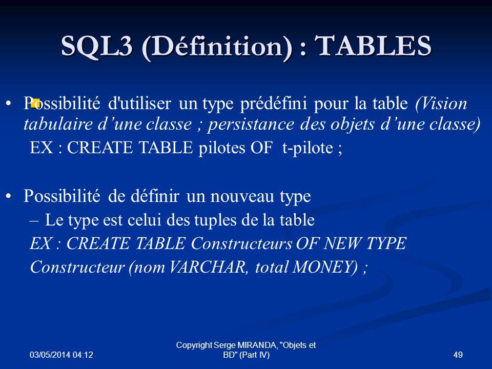 SQL3 (Définition) : TABLES