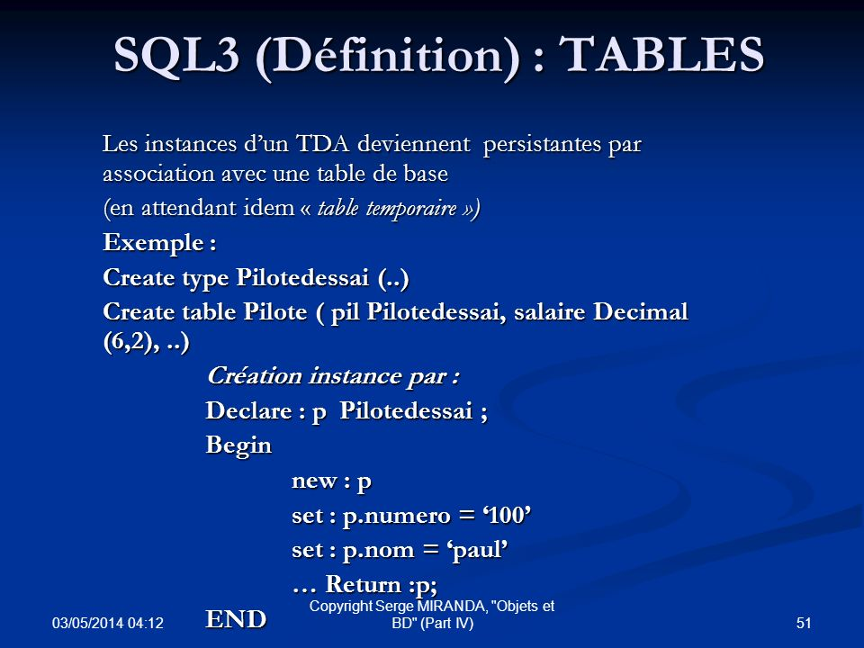Introduction sql3 sql99 ppt t l charger - Set de table definition ...