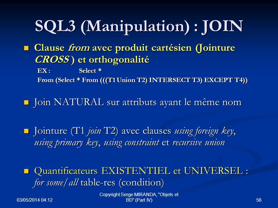 SQL3 (Manipulation) : JOIN