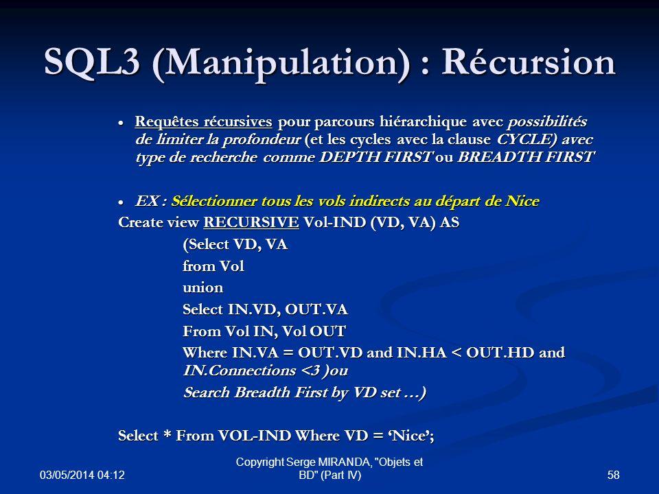 SQL3 (Manipulation) : Récursion