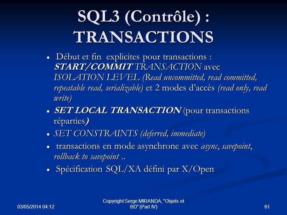SQL3 (Contrôle) : TRANSACTIONS