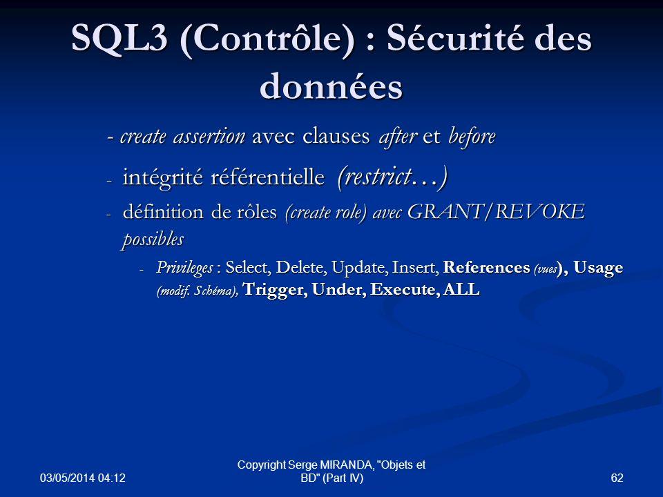 SQL3 (Contrôle) : Sécurité des données
