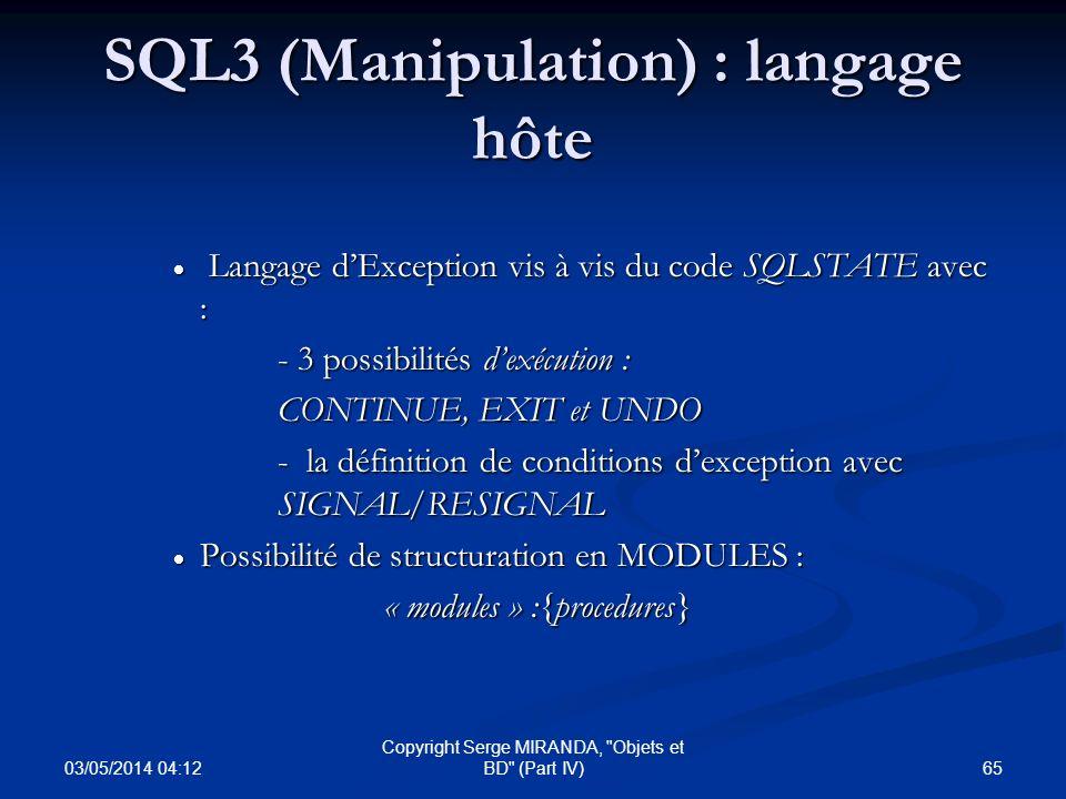 SQL3 (Manipulation) : langage hôte