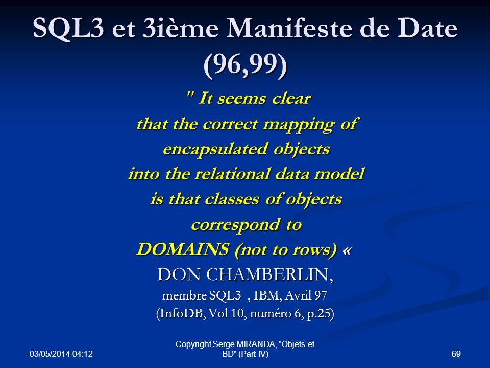 SQL3 et 3ième Manifeste de Date (96,99)