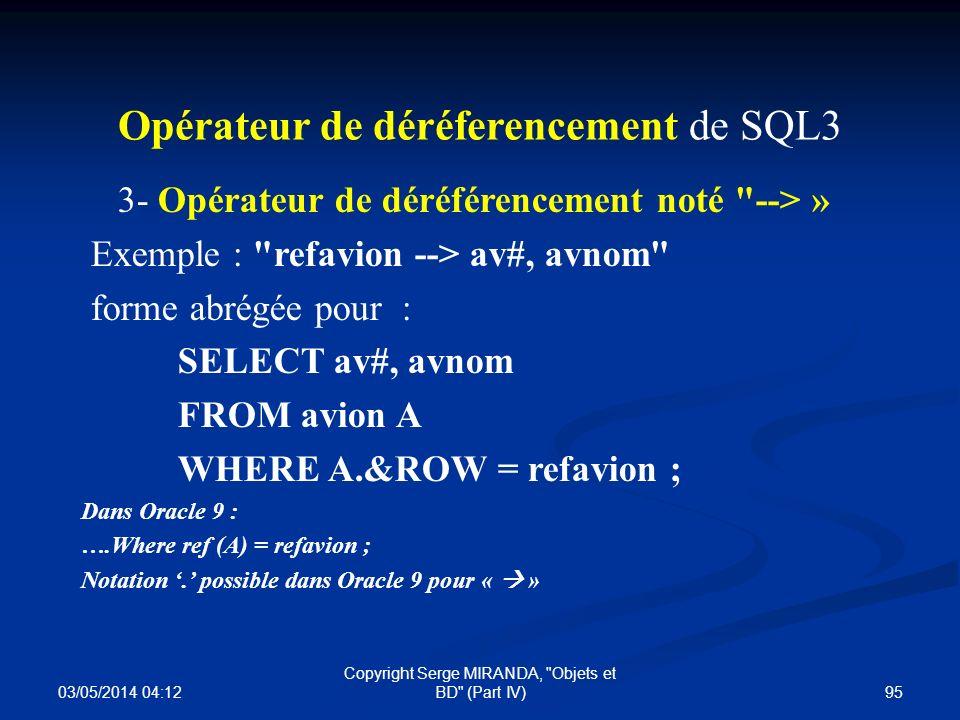 Opérateur de déréferencement de SQL3