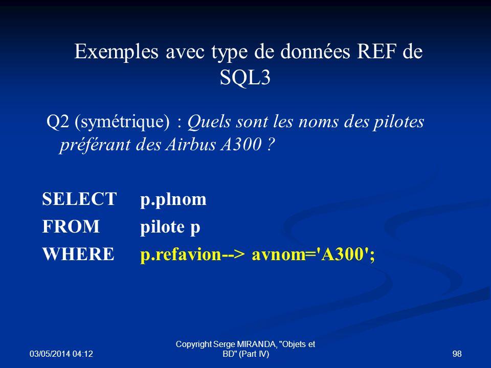 Exemples avec type de données REF de SQL3