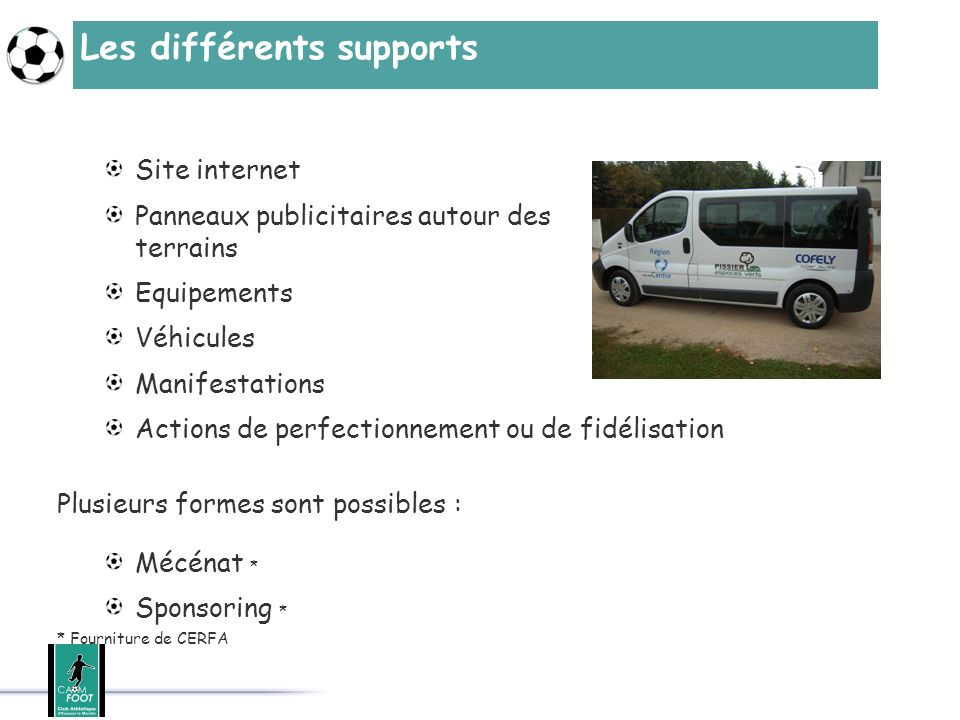 Les différents supports