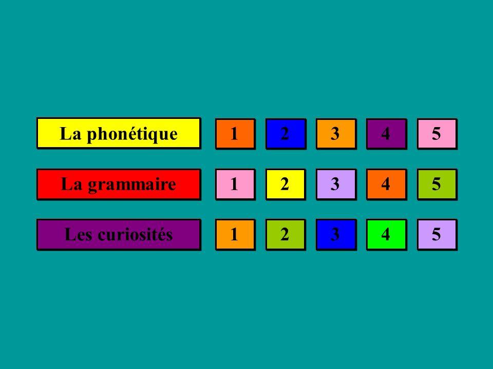 La phonétique 1 2 3 4 5 La grammaire 1 2 3 4 5 Les curiosités 1 2 3 4 5