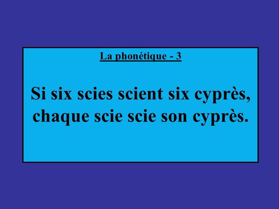 Si six scies scient six cyprès, chaque scie scie son cyprès.