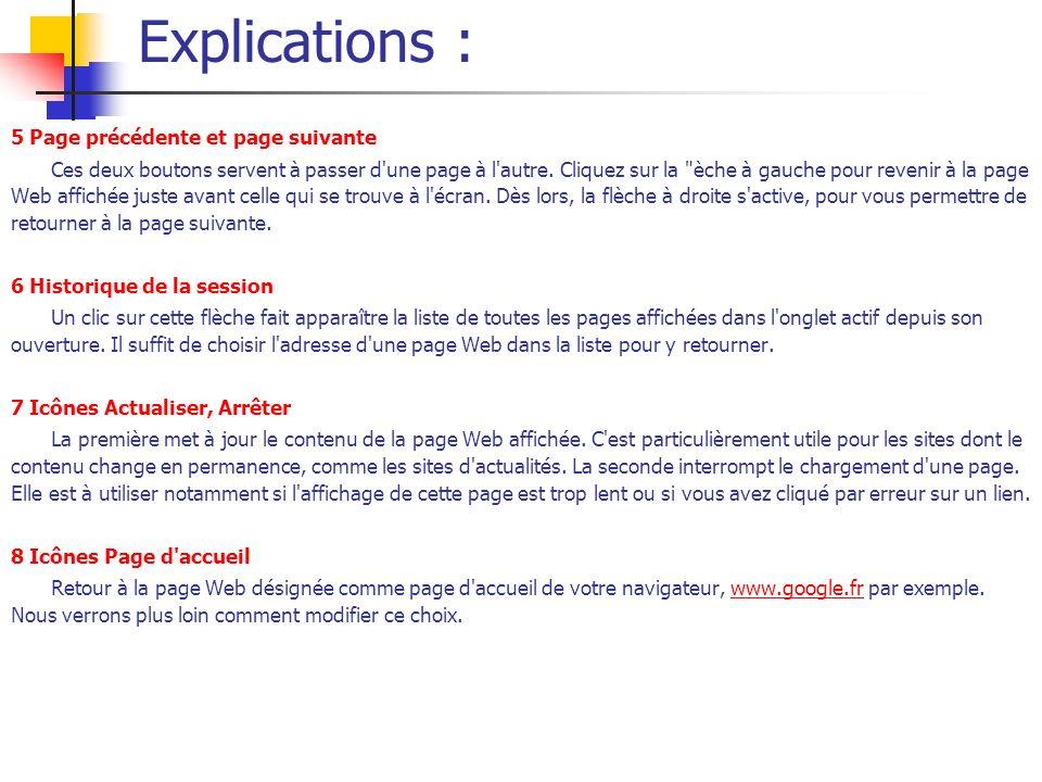 Explications : 5 Page précédente et page suivante
