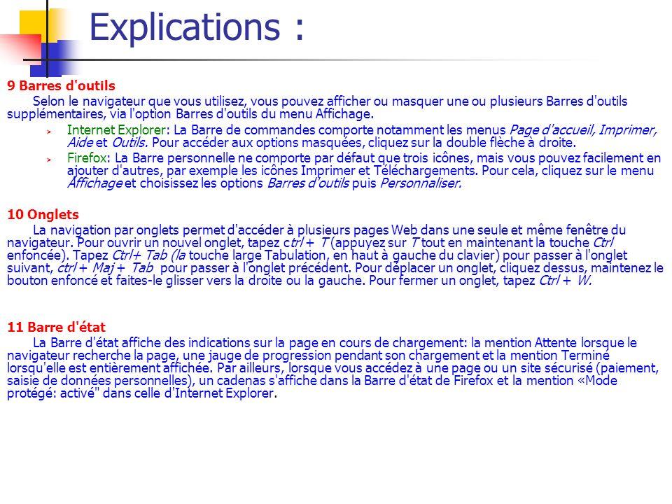 Explications : 9 Barres d outils