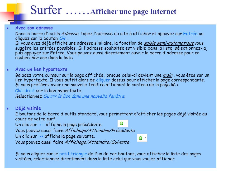 Surfer ……Afficher une page Internet