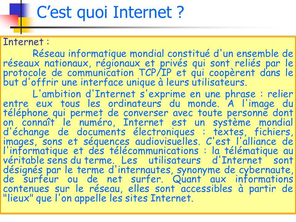C'est quoi Internet Internet :