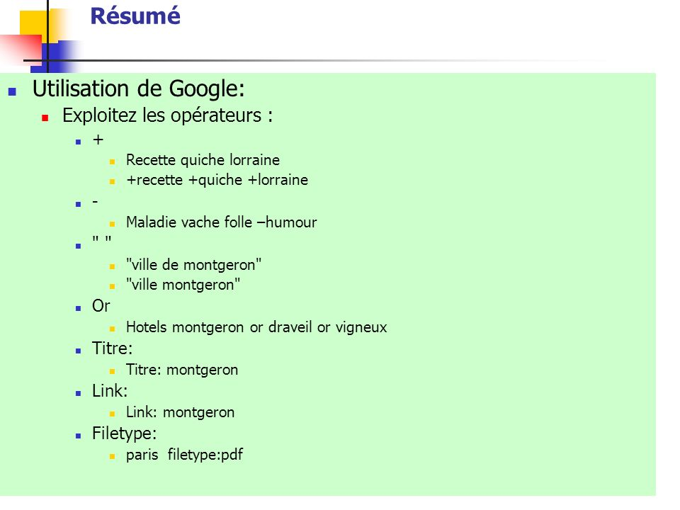 Utilisation de Google:
