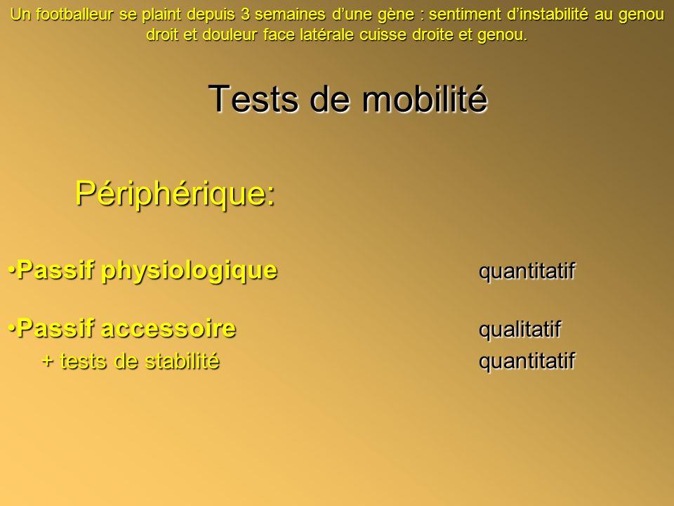Tests de mobilité Périphérique: Passif physiologique quantitatif