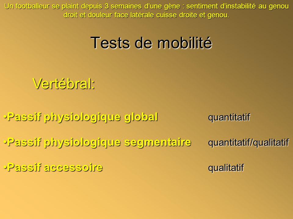 Tests de mobilité Vertébral: Passif physiologique global quantitatif