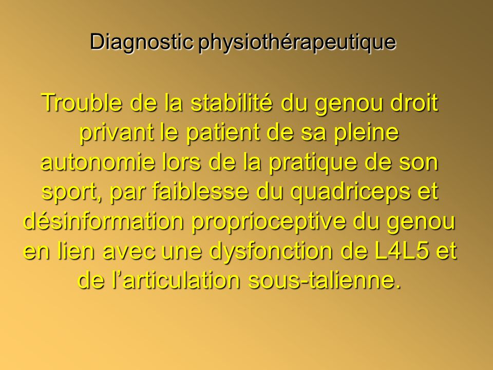 Diagnostic physiothérapeutique
