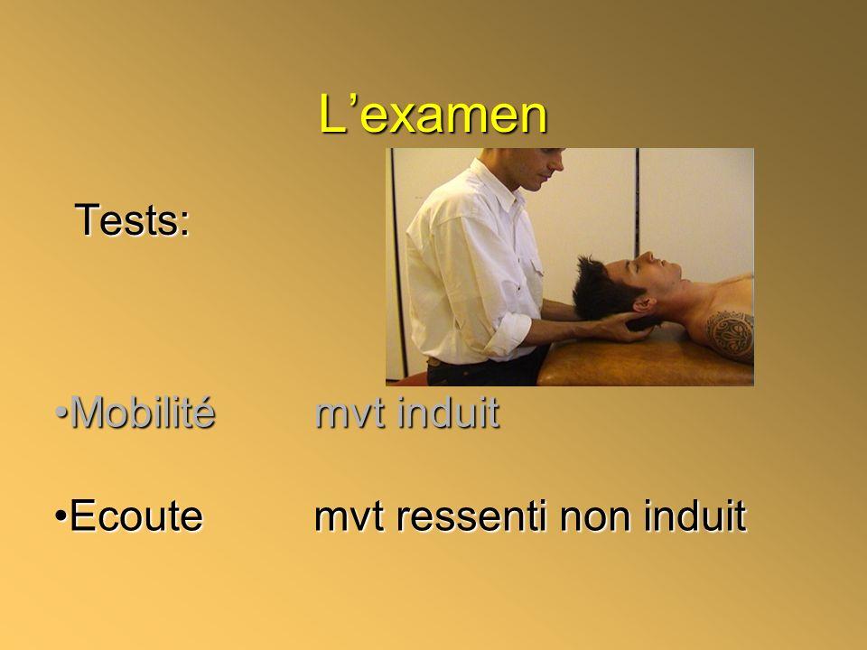 L'examen Tests: Mobilité mvt induit Ecoute mvt ressenti non induit